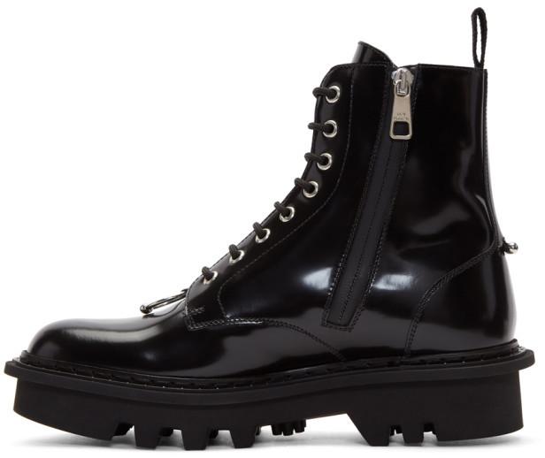 neil barrett black pierced military boots herren. Black Bedroom Furniture Sets. Home Design Ideas