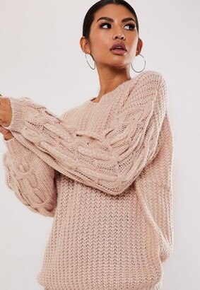 Missguided Pink Plait Cable Knit Sleeve Sweater