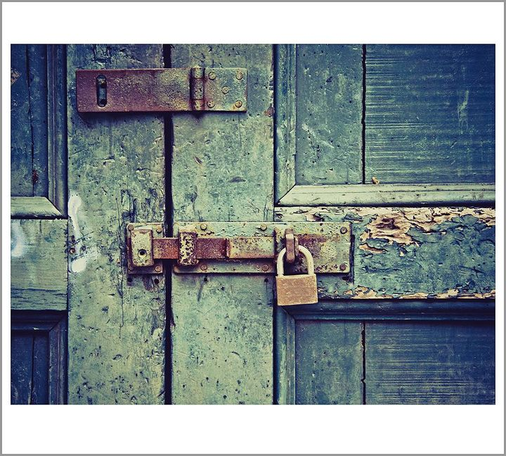 Pottery Barn Blue Door Framed Print by Ana V. Ramirez