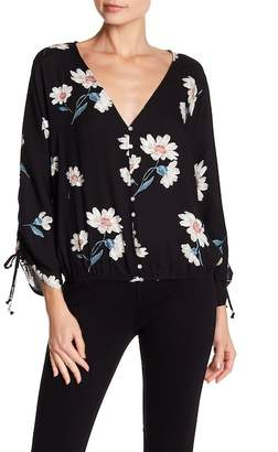 Love Stitch 3\u002F4 Sleeve Surplice Neck Blouse