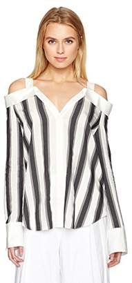 KENDALL + KYLIE Women's Stripe Off-Shoulder Shirt