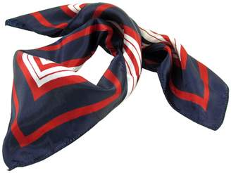 uxcell® Lady Dark Blue Red White Stripe Print Kerchief Square Neck Scarf Wrap