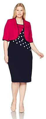 Maya Brooke Women's Size Polka dot Diagonal Jacket Dress Plus