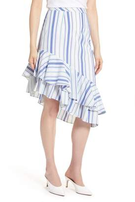 Halogen Ruffle Hem Stripe Skirt (Regular & Petite)