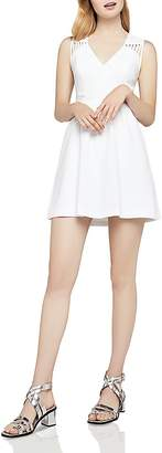 BCBGeneration Sheer Detail Fit-and-Flare Dress