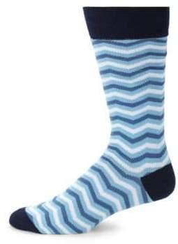 Saks Fifth Avenue Multicolored Chevron Crew Socks