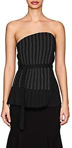 J KOO Women's Pleated Crepe Belted Strapless Blouse - Black
