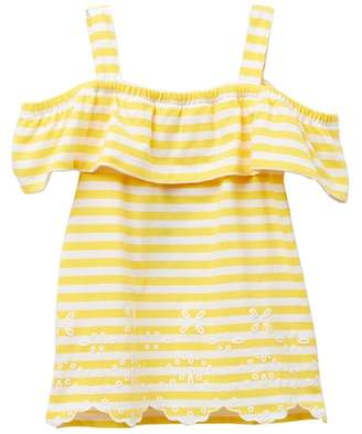 Nautica Striped Cold Shoulder Popover Top (Toddler Girls)