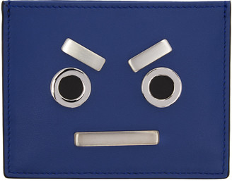 Fendi Blue 'Fendi Faces' Card Holder $300 thestylecure.com