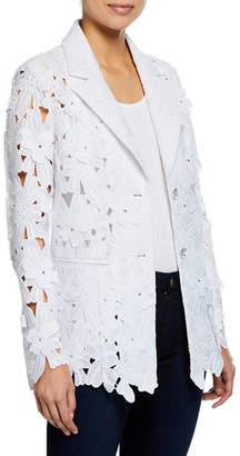 Berek Plus Size Peek-A-Boo 3D Open Floral Lace Button-Front Jacket