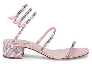 Rene Caovilla Women's Pink Crystal Ankle Wrap Sandals