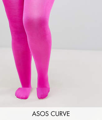 Asos 90 Denier High Shine Tights In Pink