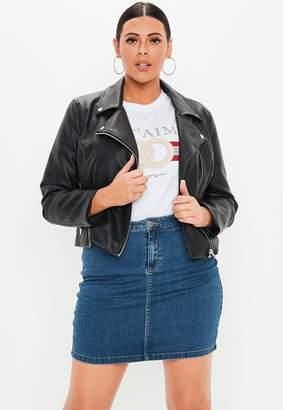Missguided Plus Size Blue Denim Superstretch Mini Skirt