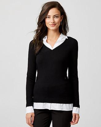Le Château Knit & Woven Fooler Collar Sweater