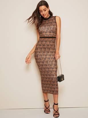 Shein Greek Fret Print Sleeveless Pencil Dress