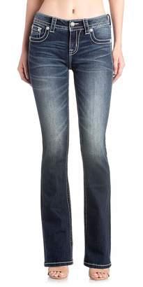 Miss Me Women's Metallic Snowflake Embellished Boot Cut Jeans