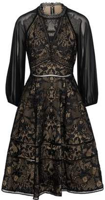 Marchesa Cutout Chiffon-Paneled Guipure Lace Dress