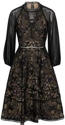 Marchesa Cutout Chiffon-Paneled Guipure Lace Dress