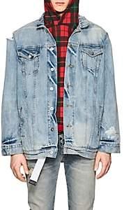 Warren Lotas Men's Distressed Denim Jacket-Blue