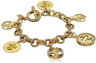 Symbols of Faith 14k Gold-Dipped Toggle Crosses and Fleur di Lis Medallion Link Charm Bracelet
