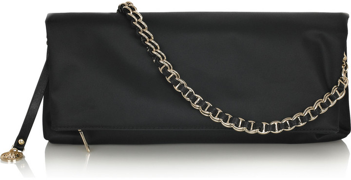 DKNY Fold-over satin shoulder clutch