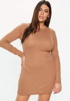Missguided Plus Size Camel Ribbed Bodycon Dress