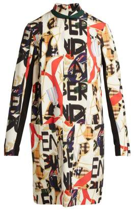 Burberry Graffiti And Scarf Print Silk Blend Panelled Dress - Womens - Multi