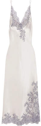 Chantilly Lace-trimmed Silk-satin Nightdress - Cream