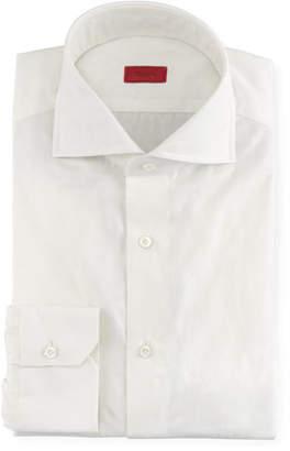 Isaia Tonal Floral Jacquard Dress Shirt, White