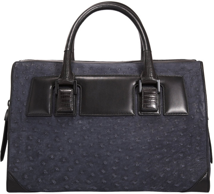 Narciso Rodriguez Ostrich & Tejus Bowler Tote