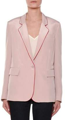 Stella McCartney One-Button Silk Blazer w/ Contrast Piping