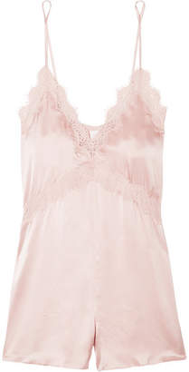 CAMI NYC The Demi Lace-trimmed Silk-charmeuse Playsuit - Blush