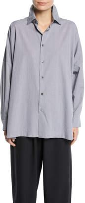 eskandar Micro-Check Spread-Collar Button-Front Blouse, Black