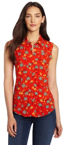 Vince Camuto Two by Women's Sleeveless Fressia Flower Western Shirt