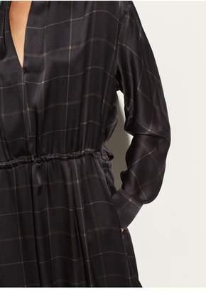 Vince Grid Plaid Wrap Dress