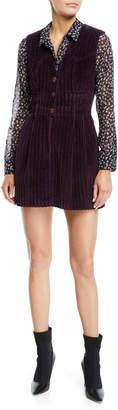 Altuzarra Sleeveless V-Neck Button-Front Ribbed-Velvet Mini Dress