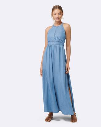 Forever New Addison Lace Trim Denim Maxi Dress