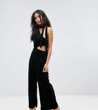 Lioness One Shoulder Choker Detail Velvet Jumpsuit
