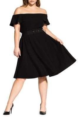 City Chic Plus Little Flirt Off-the-Shoulder Dress
