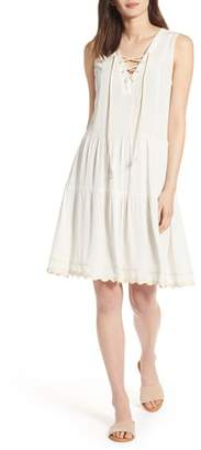 Wit & Wisdom Rickrack Lace-Up Gauze Dress