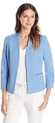 Kasper Women's Stretch Crepe Flyaway Jacket with Zipper Details