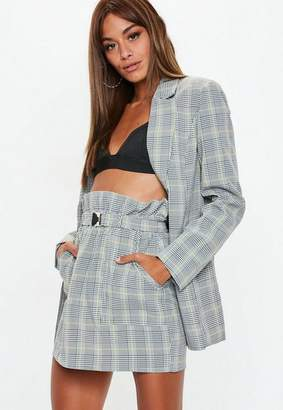 Missguided Gray Heritage Plaid Double Breasted Blazer