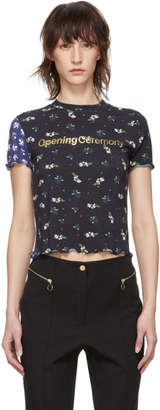 Opening Ceremony Black Fem Fit Floral Lettuce Edge T-Shirt