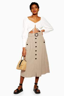 5c31c53c4c Topshop Womens Belted Button Midi Skirt With Linen - Natural