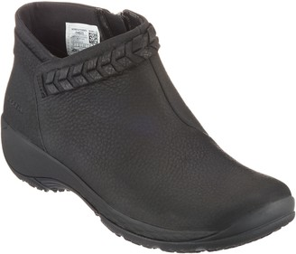 Merrell Leather Slip-On Ankle Boots - Encor Braided Bluff