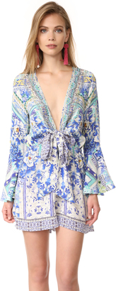 Camilla Porcelain Paradise Tie Front Romper $500 thestylecure.com