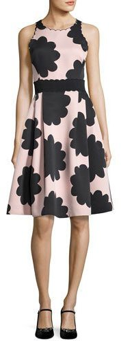 Kate Spade Kate Spade New York Sleeveless Petal Stamp Fit-And-Flare Dress, Natural
