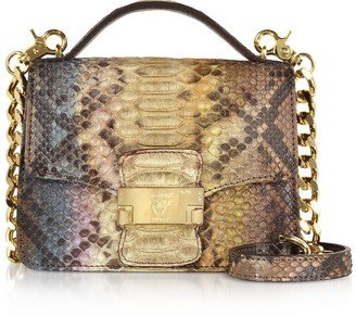 Ghibli Brown Paillette Python Leather Crossbody Bag