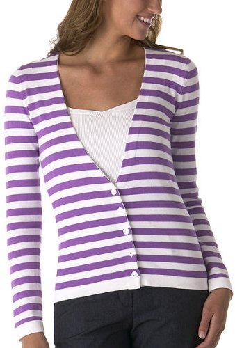Isaac Mizrahi for Target® Striped Cardigan Sweater - Dewberry