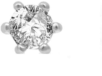 White Rhodium over Silver Diamond Stud Single Earring